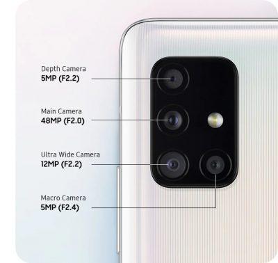 Las 4 Cámaras del Samsung A51 5G pese a ser similares que la versión normal rinden a mejor nivel