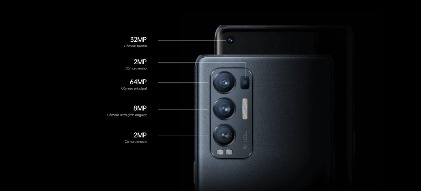 El Oppo Find X3 monta 4 cámaras con una principal de 64Mp y un Gran Angular de 8Mp